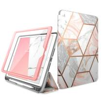 i-Blason Cosmo Case for New iPad 7th Generation, iPad 10.2 2019 Case, Full-Body Trifold with Built-in Screen Protector Protective Smart Cover with Auto Sleep/Wake & Pencil Holder (Marble)