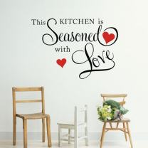 Picniva Black 22'' X 31'' This Kitchen is Seasoned with Love Wall Quote Sticker
