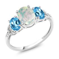 Gem Stone King 10K White Gold Diamond Accent 3-Stone Engagement Ring set with 2.10 Ct Cabochon Simulated Opal & Swiss Blue Topaz (Available 5,6,7,8,9)