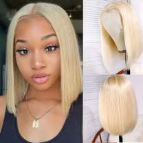613 Blonde Short Bob Wigs Human Hair Lace Closure Wigs Brazilian Virgin Human Hair Straight Bob lace Front Wigs For Black Women Pre Plucked with Baby Hair(12inch,blonde color)
