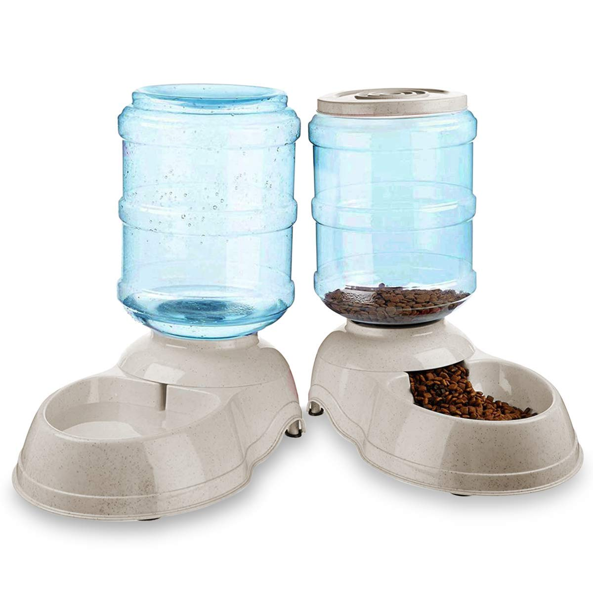 Zone Tech Self-Dispensing Pet Feeder and Water Dispenser - Premium Quality Durable Automatic Self-Dispensing Gravity 1 Gallon Pet Feeder and 3.7 Liters Pet Waterer