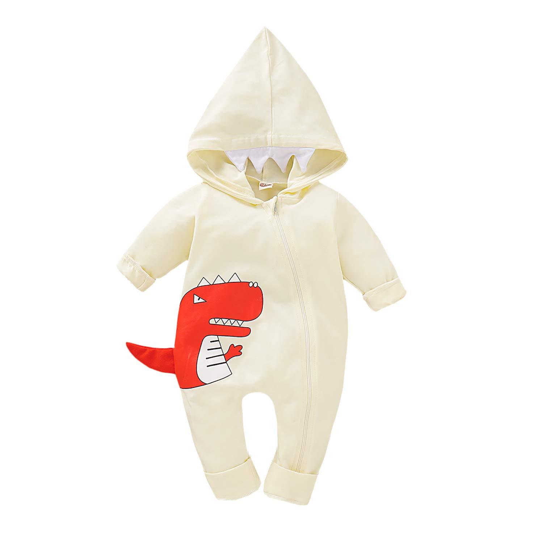 GRNSHTS Baby Boys Girls Romper Dinosaur Long Sleeve Hoodie Jumpsuit