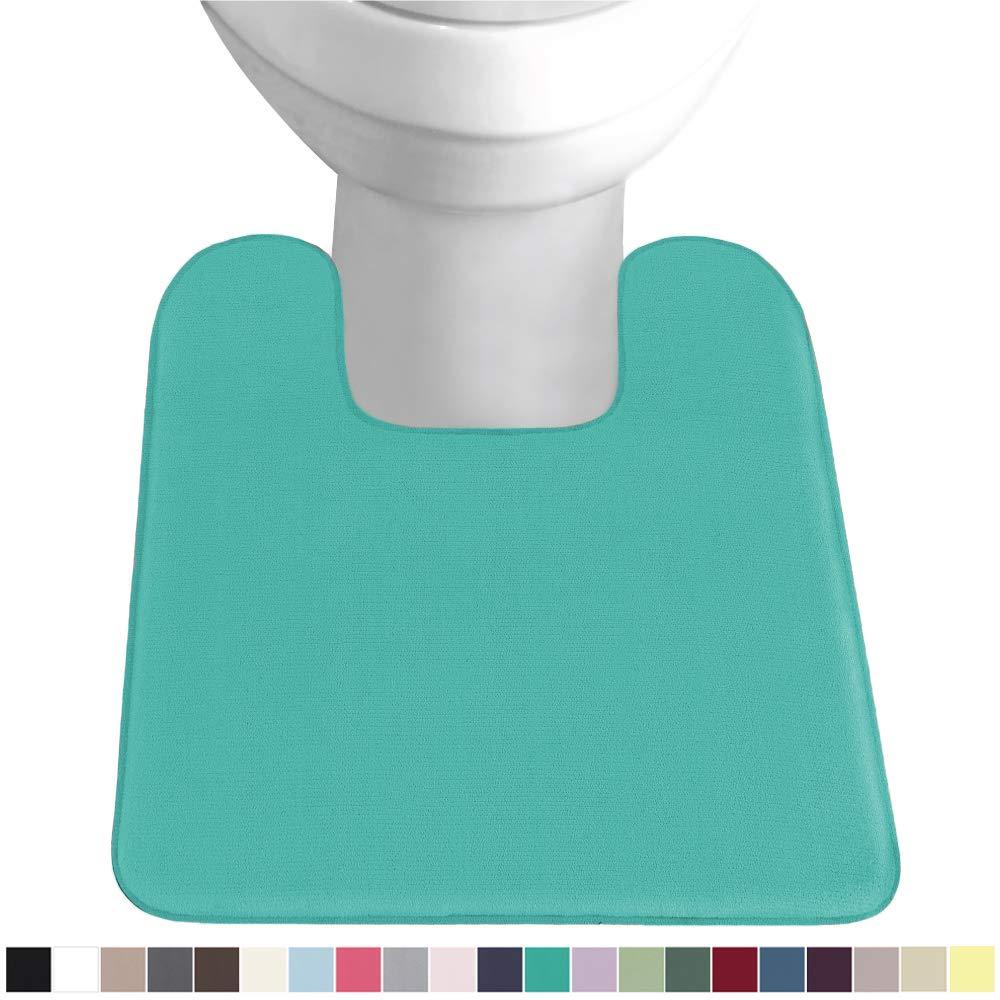 Gorilla Grip Original Thick Memory Foam Contour Toilet Bath Rug 22.5x19.5, Square, Cushioned, Soft Floor Mats, Absorbent Premium Bathroom Rugs, Machine Wash and Dry, Plush Bath Room Carpet, Turquoise