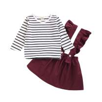 bilison Toddler Baby Girl Clothes Flare Sleeve T-Shirt Top and Suspender Skirt Dress 2Pcs Summer Outfits