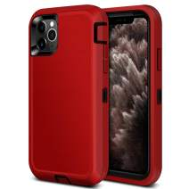 Jiunai iPhone 11 Pro Max Case, 3 in 1 Outdoor Sports Tough Heavy Duty Hybrid Drop Protection Shockproof Anti Scratch Dual Layer Armor Strong Rugged Cover Matte Case for iPhone 11 Pro Max 6.5 inch Red
