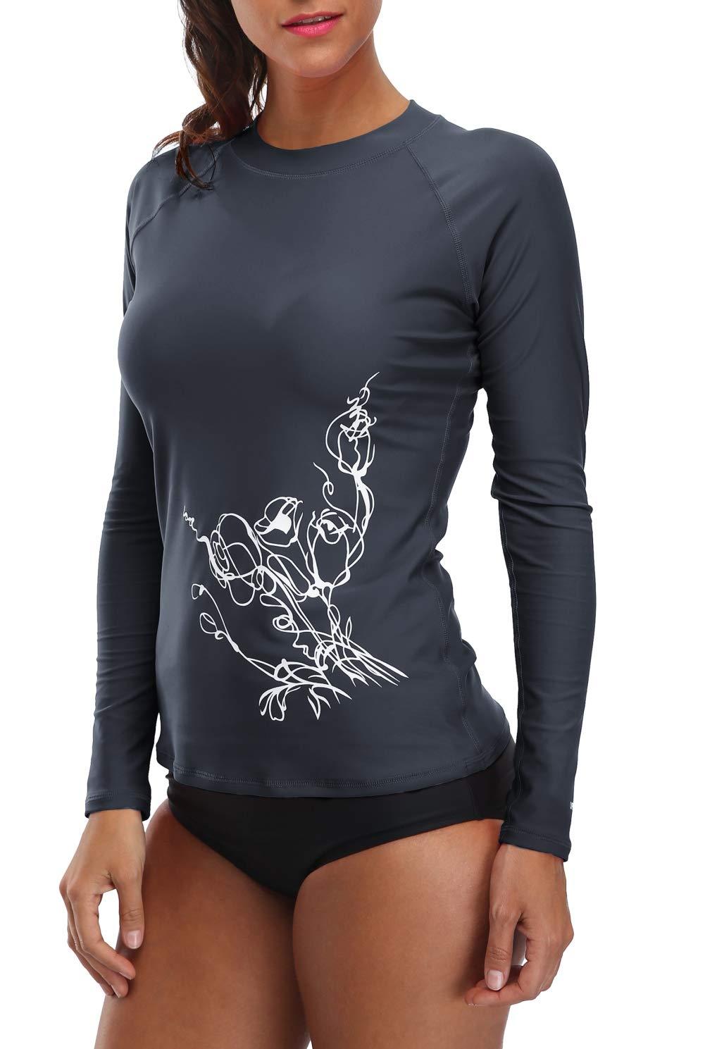 beautyin Women's Long-Sleeve Rashguard UPF 50+ Swimwear Rash Guard Athletic Tops