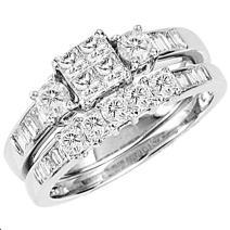 Dazzlingrock Collection 0.85 Carat (ctw) 14k Princess & Round Diamond Ladies Bridal Engagement Ring Set Matching Band, White Gold
