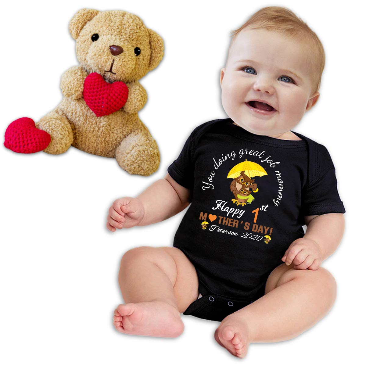 Personalized Custom Baby Onesies Boy Girl First Mothers Day Bodysuit White Black Short Sleeve