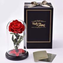 RUSTIC STEMS – Preserved Rose in Glass Dome Real Fresh Flower Forever Beauty and The Beast Eternal Handmade Gifts for Mom Women Wife Girlfriend Birthday Anniversary (Classic Red)