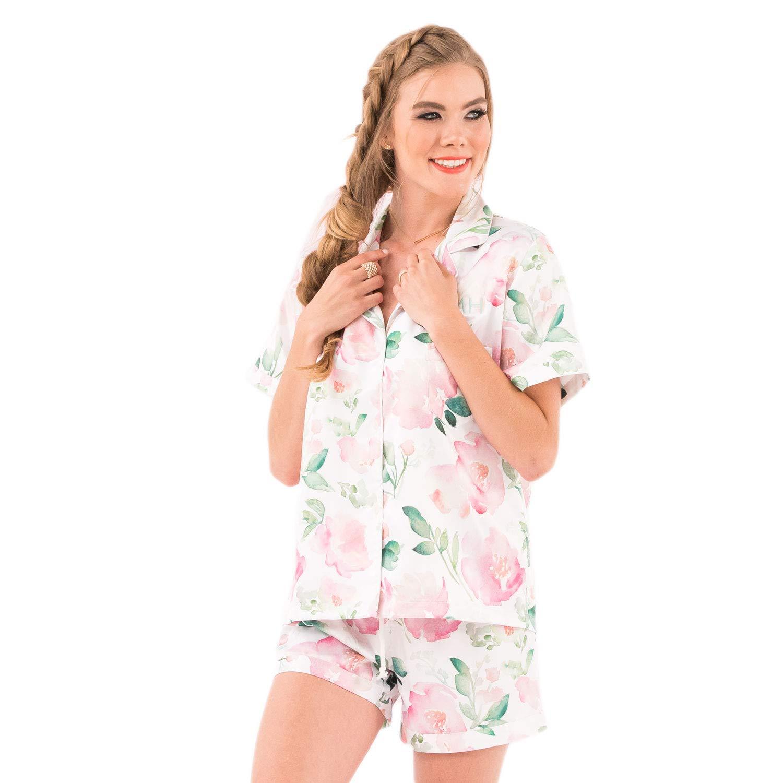Women's Personalized Satin Pajama Sleepwear Set by Weddingstar Shorties and Shirt