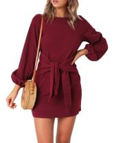 Imysty Womens Dresses Casual Tie Front Lantern Sleeve Party Short Mini Pencil Dress