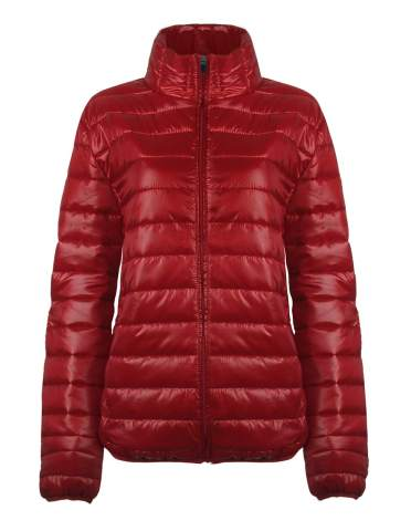 SUNDAY ROSE Packable Puffer Jacket Women Slim Fit Lightweight Quilted Jacket Color Dark Red - Size 2XL