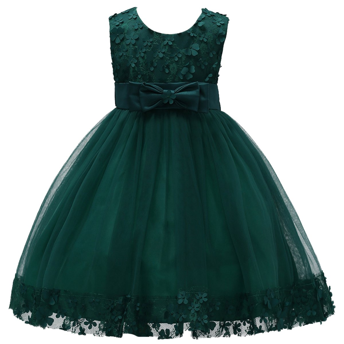 2-10T Big Little Girl Ball Gown Short Lace Flower Tulle Prom Dresses for Wedding Party Evening Dance