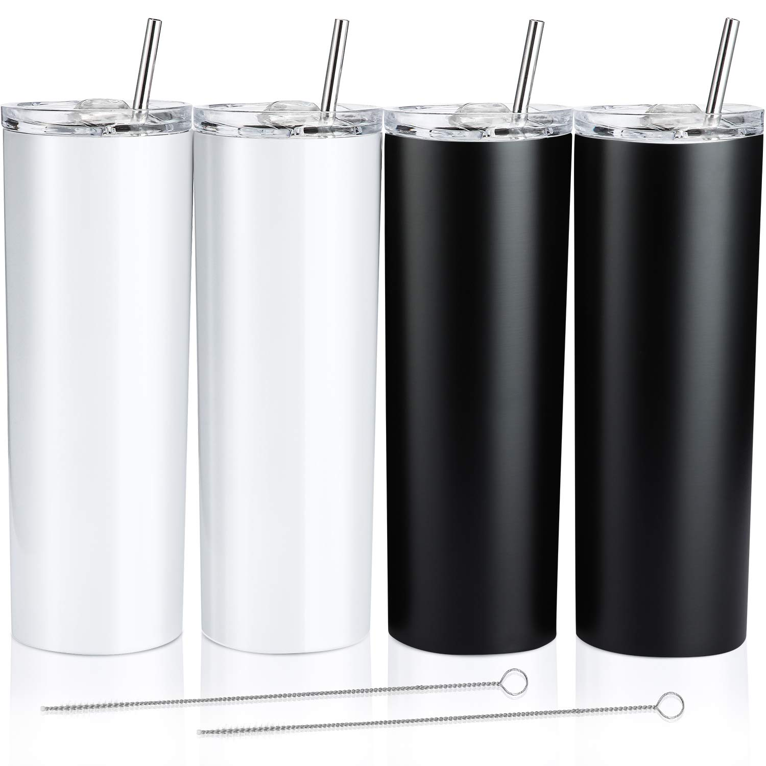 4 Pack Classic Tumbler Stainless Steel Double-Insulated Water Tumbler Cup with Lid and Straw Vacuum Travel Mug Gift with Cleaning Brush (Pearl White, Matte Black, 20 oz)
