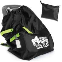 Gorilla Grip Car Seat Bag Backpack with Pouch, Free Luggage Tag, Universal Size Travel Bags Fits Most Carseats, Adjustable Padded Straps, Gate Check, Flying with Baby, Easy Carry, Fluorescent Straps