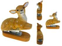 Vivid Handmade Wood Carving Cartoon Mini Animal Stapler for School Office Stationery Children Christmas Gift (Sika Deer)
