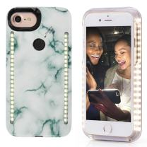 Vanjunn Selfie LED Light Case for iPhone 8 Plus 7 Plus 6s Plus,- iPhone 8 Plus Selfie Light Led Case with Front and Back LED Rechargeable Backup Light (Stone Green)