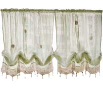 ABREEZE Curtain Tie Up Shade Window Panels for Living Room and Bedroom Balloon Curtains Hook Flower Sheer Curtains 1Panel
