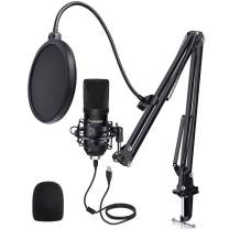 Panamalar USB Condenser Microphone Kit,192KHZ/24BIT Studio Recording Microphone PC Streaming Cardioid Mic with Professional Sound Chipset Flexible Arm Pop Filter Set for YouTube Video Podcast Game