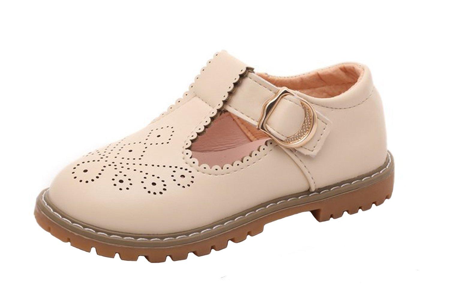 WUIWUIYU Toddlers Little Big Girls T-Strap Oxfords Shoes School Uniform Dress Mary Jane Flats