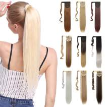"""S-noilite Ponytail Hair Extension Magic Paste Ponytail One Piece Synthetic Straight Curly Hairpiece Blonde Black Brown (17-26"""")"""
