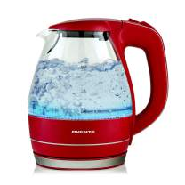 Ovente Electric Hot Water Glass Kettle 1.5 Liter with Heat Tempered Borosilicate Glass, 1100 Watts BPA-Free Fast Heating Element with Auto Shutoff and Boil Dry Protection, Maroon (KG83M)