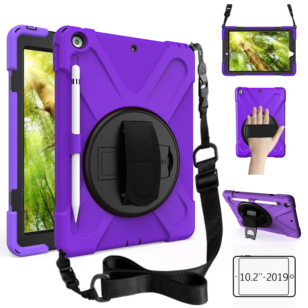 ZenRich New iPad 10.2 Case 2019, iPad 7th Generation Case with Pencil Holder, Rotatable Kickstand, Hand Strap and Shoulder Strap, Shockproof Case for iPad 10.2 inch 2019 A2197/A2198/A2199/A2200-Purple