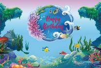 Baocicco 7x5ft Underwater World Coral Reef Backdrop Girls Boys Birthday Backdrop Vinyl Photography Background Cartoon Turtle Tropical Fish Seaweed Sea Marine Theme Happy Children Party Portraits