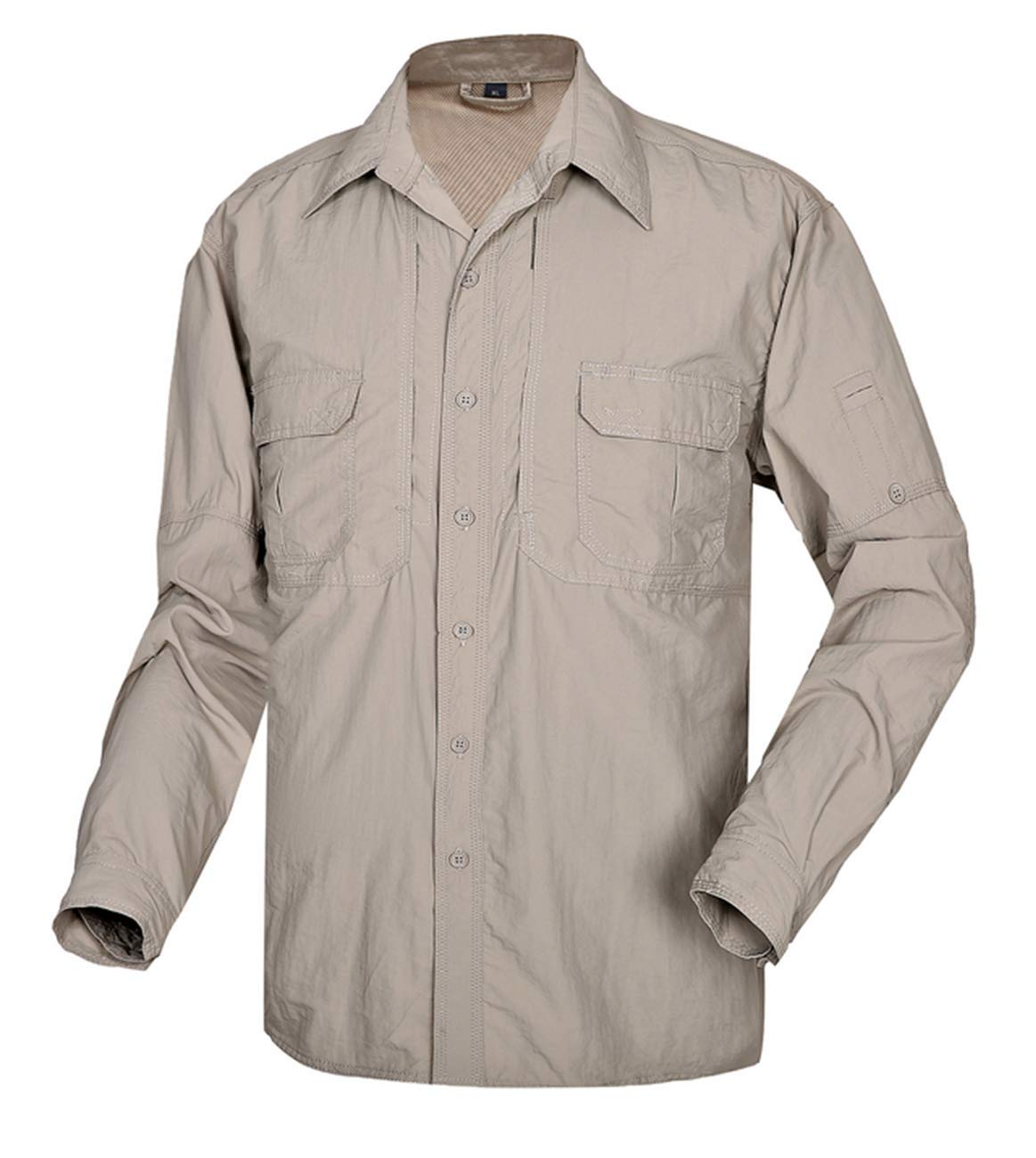 APRAW Men's Quick Dry Travel Outdoor Shirts Waterproof Long Roll Sleeves UV Protection Hiking Fishing Camping Khaki
