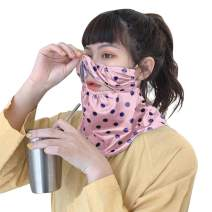 Open Front Bandanas Seamless Rave Face Scarf for Women Polka Dots Unclosed Balaclavas UV Neck Gaiter for Dust Outdoors