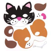 Baker Ross Pet Animals Foam Mask Kits (Pack of 4) Assorted Pet Animals Masks for Kids to Wear at Party's or Dressing Up