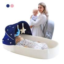 MTWML Travel Baby Bed, Co Sleeping with 1 Canopy 1 Mosquito Net, a 5° Gentle Slope Mattress 2 Toys and a Backpack Which Can be Used as Mummy Bag. Travel Bassinets Suitable for 0-10 Months Babies