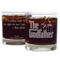 "Movies On Glass Double-Sided Godfather Whiskey Glass (11oz) with Quote ""I'm gonna make him an offer he can't refuse"" ~ Vito Corleone 