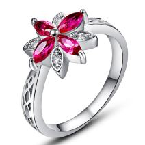 Narica Women's Elegant Marquise Cut Flower Shaped Created Ruby Spinel CZ Engagement Ring Band Size 7