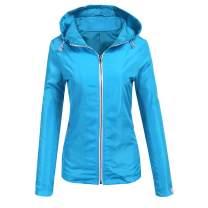 Beyove Women's Lightweight Raincoat Waterproof Hooded Active Outdoor Rain Jacket Windbreaker Packable Quick Dry Outerwear