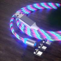 LED Flowing Magnetic Charger Colorful Cable Light Up Candy Moving Party Shining Charger Phone Charging Cable Magnetic Streamer Absorption USB Snap Quick Connect 3 in 1 USB Cable