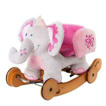 labebe - Plush Rocking Horse, Pink Ride Elephant, Stuffed Rocker Toy for Child 1-3 Year Old, Kid Ride On Toy Wooden, 2 In 1 Rocking Animal with Wheel for Infant/Toddler(Girl&Boy),Nursery Birthday Gift