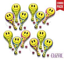 """CUZAIL Party Favors - Party Supplies - Adults & Kids - Smiley Face Paddle Ball 9"""" with String Birthday Fun - Bulk Pack of 12 - Party Entertainment Toys - Gifts"""