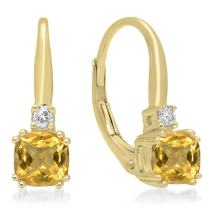 Dazzlingrock Collection Each 5 MM Cushion Gemstone & Round White Diamond Ladies Dangling Drop Earrings, 10K Gold