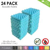 Arrowzoom New 24 Pack of (9.8 in X 9.8 in X 1.1 in) Convoluted Foam Soundproofing Insulation Egg Crate Acoustic Wall Padding Studio Foam Tiles (Baby Blue)