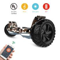 HYPER GOGO Off Road, Electric Self Balancing All Terrain Hoverboard with Built-in Speaker and LED Lights, UL2272 Certified, 8.5 Inch