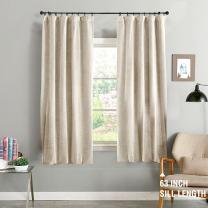 jinchan Beige Curtains Velvet Drapes Bedroom Window Curtains 63 Inch Length Living Room Rod Pocket Window Treatment Set 2 Panels