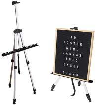 Offickle Easel Art Stand Painting - Sign Holder Artist Poster Photo Booth Banner Board Tripod Adjustable with Carrying Bag, Reinforced Aluminum Metal_SIL