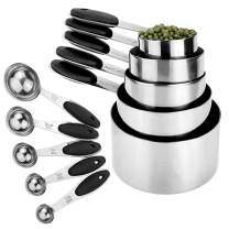 Szxc Stackable Measuring Cups & Spoons Set - 5 Cups + 5 Spoons - Stainless Steel & Non-Slip Silicone Drip - for Dry & Wet Ingredients - BPA Free - Imperial & Metric Measurements - Black Handle