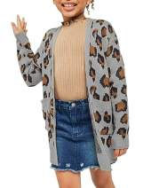 leyay Girls Leopard Jersey Open Front Cardigan Sweater Kids Knitted Long Sleeve Casual Outwear with Pockets