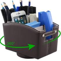 Desk Organizer with Compartments 360 Degree, PU Leather Remote Control Holder for Pencil, TV Guide, Mail, Electronics, Phone, Caddy, Eyeglasses, Media and More Office Supplies (Brown)