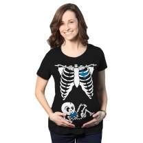 Crazy Dog T-Shirts Maternity Baby Boy Skeleton Cute Halloween Pregnancy Bump Tshirt