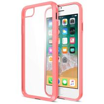 iPhone 8 7 Case, Trianium [Clarium Series] Protective Cover for Apple iPhone 7/8 Case [Shock Absorption] Reinforced TPU Bumper Cushion + Scratch Resistant Hybrid Rigid Back- Clear Pink