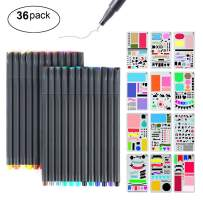 Journal Stencil Kit, MaleDen 24 Colored Fine Tip Markers Planner Pens with 12 Journaling Stencils Set for Notebook Diary Calendar Scrapbook Supplies