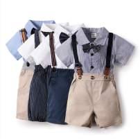 Baby Boys Gentlemen Suit Outfits Wedding Suit Clothes Set Bowtie Cotton Summer